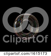 Clipart Of A Soap Bubble Lowercase Letter O On A Black Background Royalty Free Illustration by chrisroll