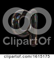 Clipart Of A Soap Bubble Lowercase Letter Q On A Black Background Royalty Free Illustration by chrisroll