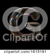 Clipart Of A Soap Bubble Capital Letter G On A Black Background Royalty Free Illustration