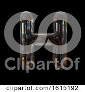 Clipart Of A Soap Bubble Capital Letter H On A Black Background Royalty Free Illustration