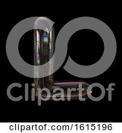 Clipart Of A Soap Bubble Capital Letter L On A Black Background Royalty Free Illustration by chrisroll