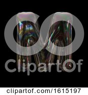 Clipart Of A Soap Bubble Capital Letter M On A Black Background Royalty Free Illustration by chrisroll