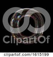 Clipart Of A Soap Bubble Capital Letter O On A Black Background Royalty Free Illustration