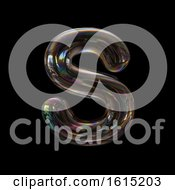 Clipart Of A Soap Bubble Capital Letter S On A Black Background Royalty Free Illustration