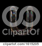 Clipart Of A Soap Bubble Capital Letter U On A Black Background Royalty Free Illustration
