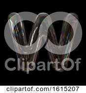 Soap Bubble Capital Letter W On A Black Background