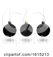 3d Black Christmas Bauble Ornaments On A White Background