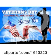 Poster, Art Print Of American Flag Veterans Day Soldier Saluting
