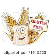 Cartoon Slice Of Bread Mascot Holding A Gluten Free Sign Over Wheat