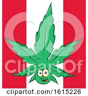 Clipart Of A Pot Leaf Mascot Over A Canadian Flag Royalty Free Vector Illustration