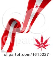 Clipart Of A Red Pot Leaf And Canadian Flag Ribbon Royalty Free Vector Illustration