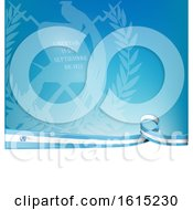 Clipart Of A Guatemalan Ribbon Flag Over A Blue And White Background Royalty Free Vector Illustration