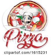 Clipart Of A Cartoon Italian Chef With Pizza And Text Royalty Free Vector Illustration by Domenico Condello