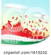 Clipart Of A Silhouetted Icons On An Italian Flag Against Sky Royalty Free Vector Illustration