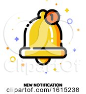Icon Of Cute Golden Bell For New Notification Concept