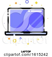 Icon Of Laptop Computer With Big Display With Purple Screen For Gadget Concept