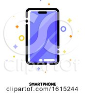Icon Of Smartphone With Huge Display With Purple Screen For Gadget Concept