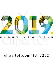 Multicolor Numbers 2019 With Stripes And Happy New Year Greetings Isolated On White Background by elena