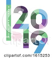 Happy New Year Greeting Card With Multicolor Numbers 2019 With Stripes And Cute Pig Isolated On White Background