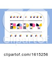 Minimalistic Happy New Year Greeting Card With Retro Geometric Lettering by elena