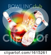 Clipart Of A Bowling Ball Crashing Against Pins Under Text Royalty Free Vector Illustration