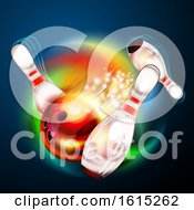 Clipart Of A Bowling Ball Crashing Against Pins Over A Colorful Swirl On Blue Royalty Free Vector Illustration