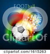 Clipart Of A Flying Soccer Ball With Magical Lights And Colorful Swirl Under Football Text Royalty Free Vector Illustration