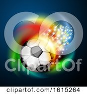 Clipart Of A Flying Soccer Ball With Magical Lights And Colorful Swirl On Blue Royalty Free Vector Illustration
