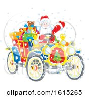 Clipart Of Santa Claus Driving A Colorful Antique Convertible Automobile Royalty Free Vector Illustration