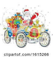 Santa Claus Driving A Colorful Antique Convertible Car