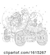 Clipart Of A Lineart Santa Claus Driving A Antique Convertible Car Royalty Free Vector Illustration
