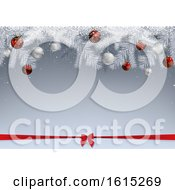Christmas Background With White Branches Snow And Baubles Over A Bow