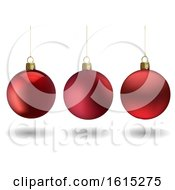 Background Of 3d Red Christmas Baubles On White