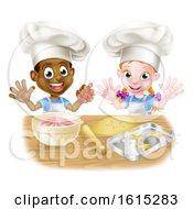 Poster, Art Print Of Cartoon Kids Baking In Chef Hats