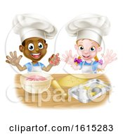 Cartoon Kids Baking In Chef Hats