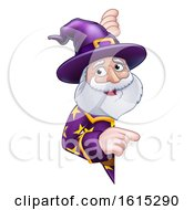 Wizard Cartoon Peeking Round Sign Pointing