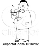 Clipart Of A Cartoon Lineart Black Business Man Reading A Paper Royalty Free Vector Illustration