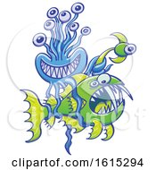 Clipart Of A Ellyfish Catching A Deep See Angler Fish Royalty Free Vector Illustration by Zooco