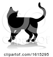 Silhouette Cat Pet Animal On A White Background