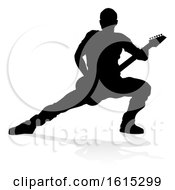 Musician Guitarist Silhouette On A White Background
