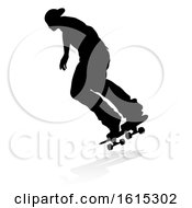 Skater Skateboarder Silhouette On A White Background by AtStockIllustration