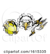 Eagle Tennis Cartoon Mascot Tearing Background