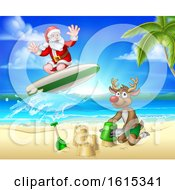 Christmas Santa Claus And Reindeer Beach Scene