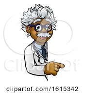 Scientist Cartoon Character Pointing Sign by AtStockIllustration