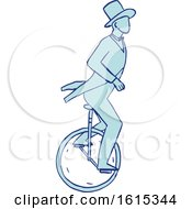 Sketched Circus Performer Riding A Unicycle