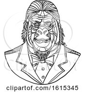 Poster, Art Print Of Black And White Sketched Bust Of A Gorilla Wearing A Tuxedo
