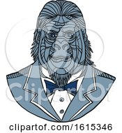 Poster, Art Print Of Sketched Bust Of A Gorilla Wearing A Tuxedo