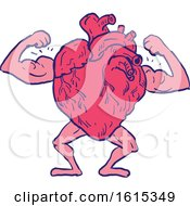 Clipart Of A Sketched Healthy Heart Flexing Its Muscles Royalty Free Vector Illustration