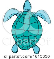 Swimming Sea Turtle In Sketch Style