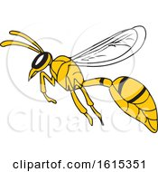 Clipart Of A Sketched Wasp Or Hornet Flying Royalty Free Vector Illustration by patrimonio